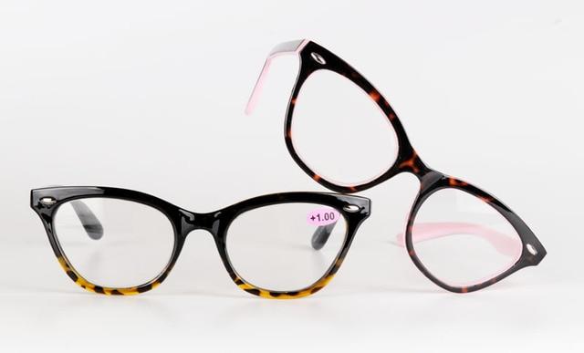 2018 Sexy Cat Eye mujeres Classic leopardo Rosa gafas de lectura femenina gafas de hipermetropía marco presbicia alta calidad