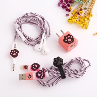 Good Gift Cute Cartoon USB font b Cable b font Earphone Protector Set With font b