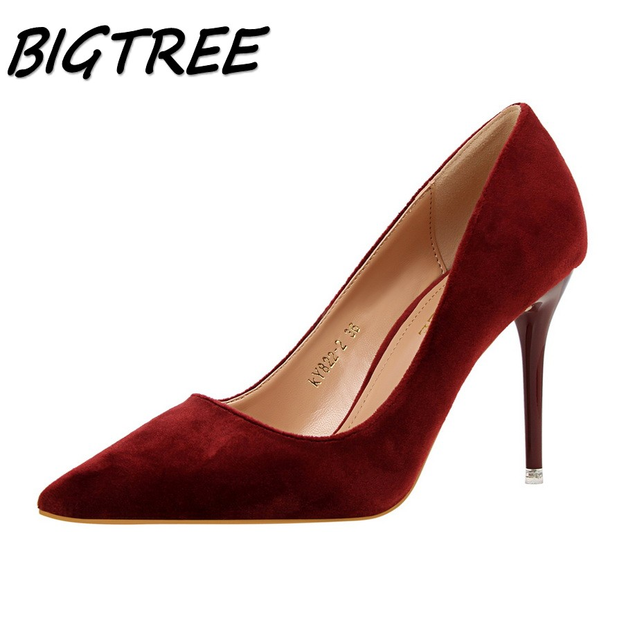BIGTREE new sexy women Pointed Toe High heels shoes woman shallow flock pumps ladies Fashion OL party Wedding stilettos shoes women pumps flock high heels shoes woman fashion 2017 summer leather casual shoes ladies pointed toe buckle strap high quality