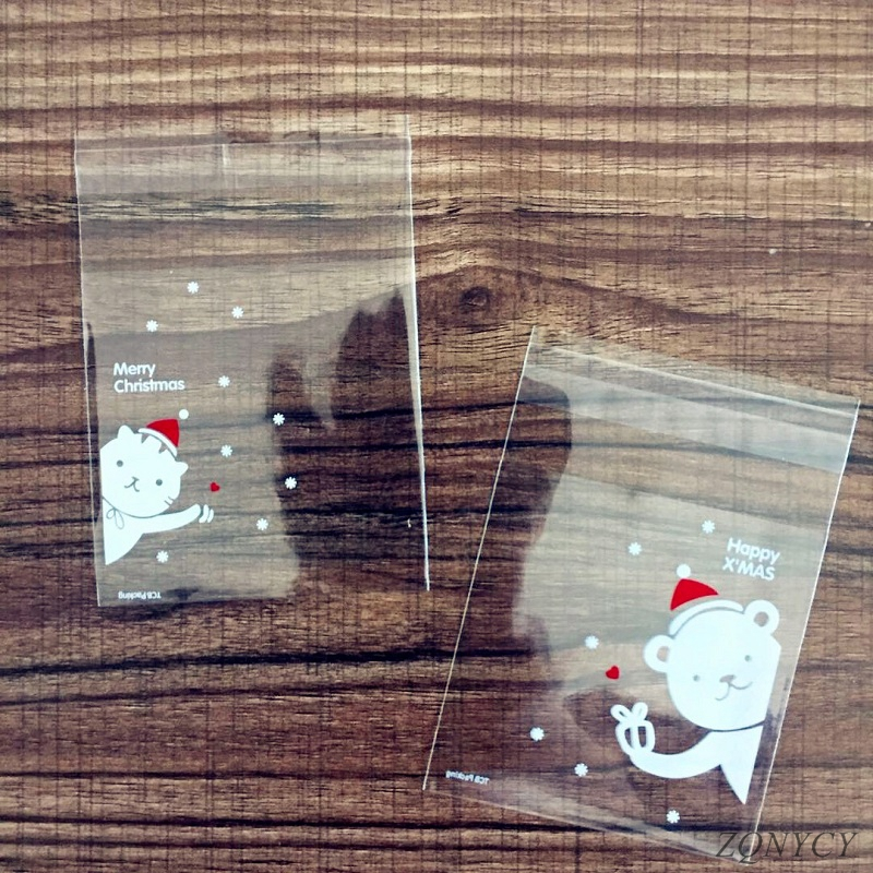 100Pcs Christmas Candy Bags Cute Plastic Gift Cookies Packaging Bags Biscuits Snack Candy Cake Packing Bags For Xmas Decoration