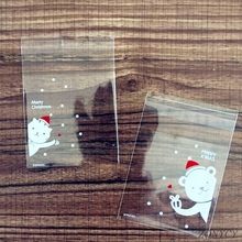 100Pcs Christmas Candy Bags Cute Plastic Gift Cookies Packaging Bags Biscuits Snack Candy Cake Packing Bags for Xmas Decoration цена 2017