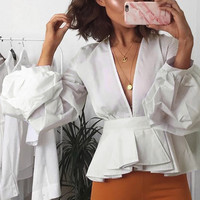 Women White Color Deep V Neckline Autumn Blouse Long Sleeve Short Style Puff Sleeve Blouse Blusas