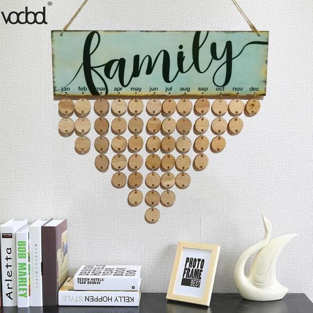Exquisite Design Diy Wooden Birthday Calendar Board Family Birthday