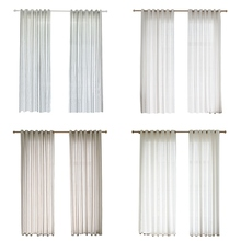 Nordic Style Home Decor Salon Living Room Window Curtains Valance Simple Stripes Clear Window Drapes Tulle Curtains For Bedroom