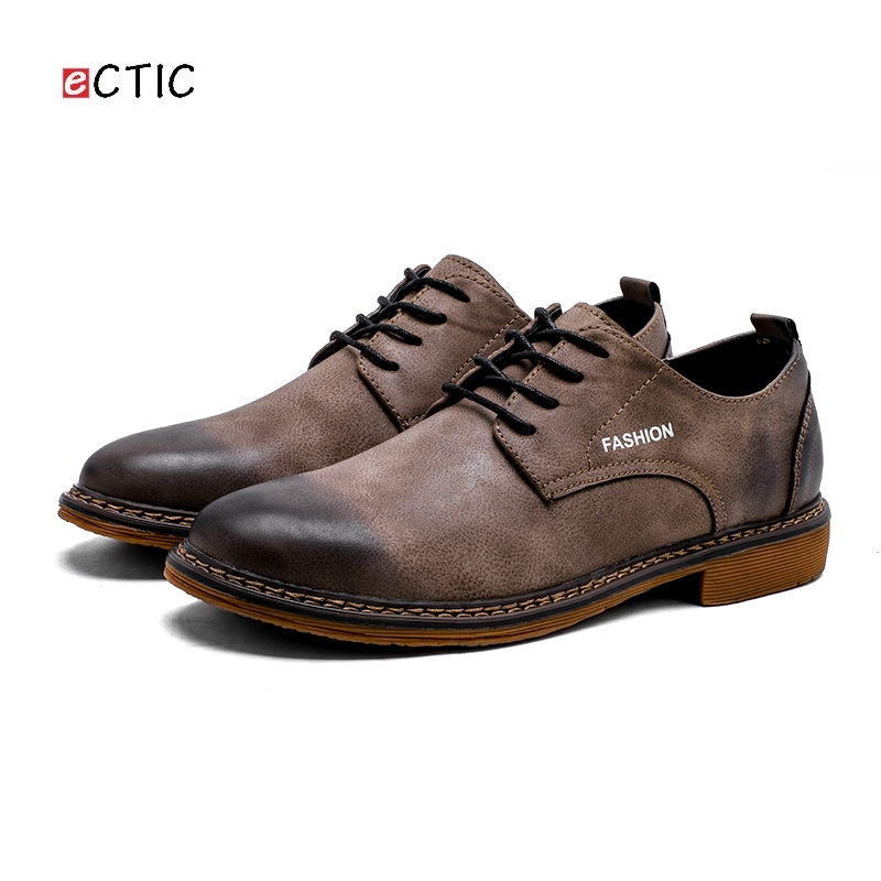 Ectic Classical Brush off Toe Cowboy Men Causal Derby Shoes Light Lace up Fashion Handsome Quality Urban Flats Drop Shipping