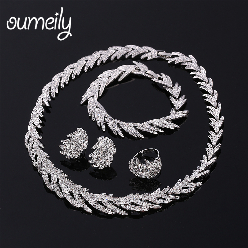 OUMEILY 2018 Nigerian Wedding Jewelry Set For Women African Dubai Silver Gold Color Indi ...