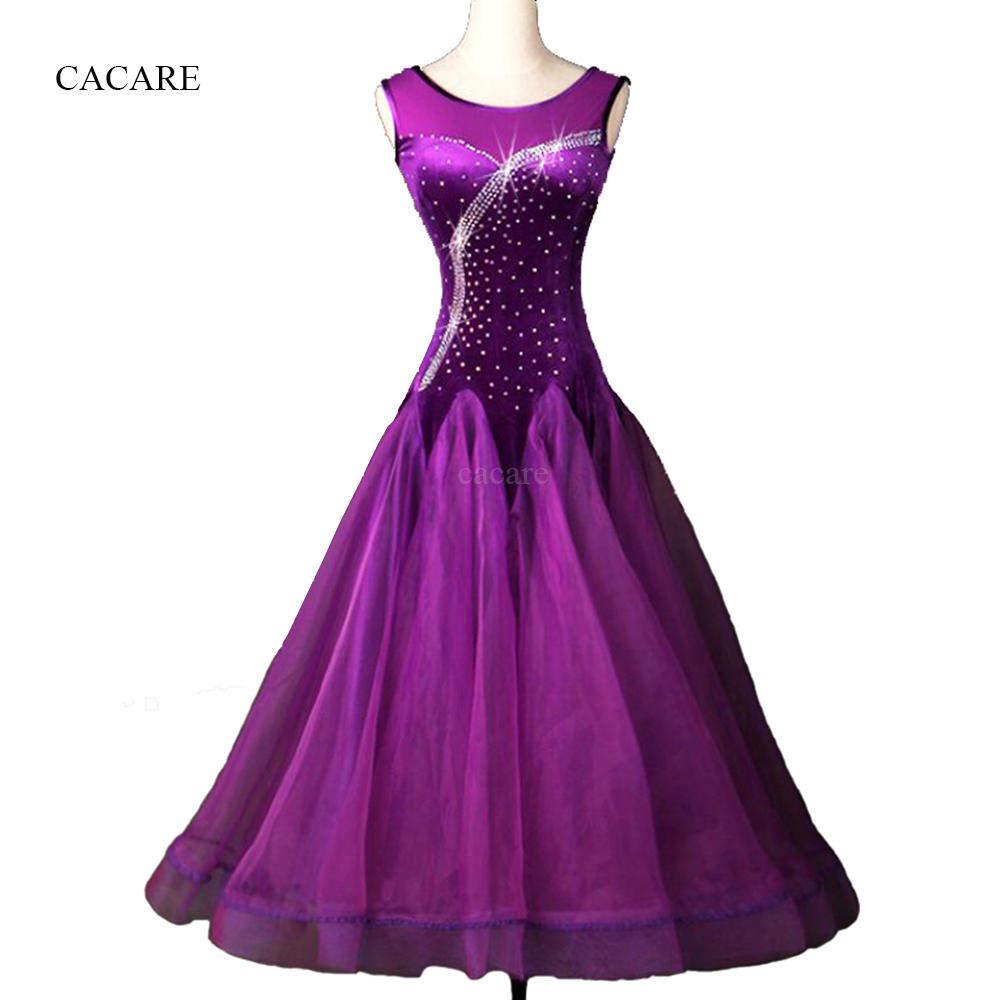 Standard Ballroom Dress Ballroom Dance Competition Dresses Flamenco Dress D0091 Sleeveless with Sheer Big Hem Rhinestones