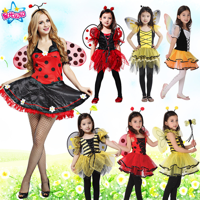 6f2872aa60ab8 Free shipping,children adult girl Halloween party yellow bee ladyfly set  red ladybug dress costume with wing headband