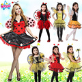 Frete grátis, crianças menina adulto festa de Halloween amarelo abelha ladyfly conjunto vermelho joaninha traje vestido com asa cabeça