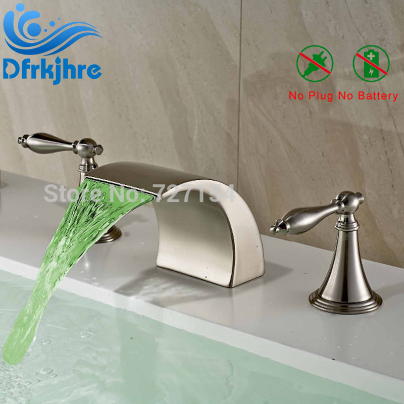 Free Shipping!  Deck Mounted LED Nickel Brushed Basin Faucet Waterfall Sink Mixer Tap 2 Handles deck mounted led nickel brushed shower faucet bathtub mixer tap 3 handles faucet