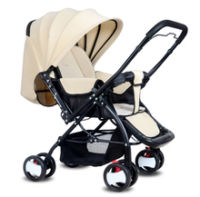 Two-way baby trolley can be sitting in the ultra-light portable folding four-wheeled BB trolley