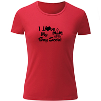 IDzn Fashion I Love My Boy Scout Printed Women Tops Short Sleeve Funny T Shirt For