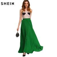 SheIn Summer Style Womens 2016 Hot Sale Korean Vogue Long Skirts New Fashion Green High Waist