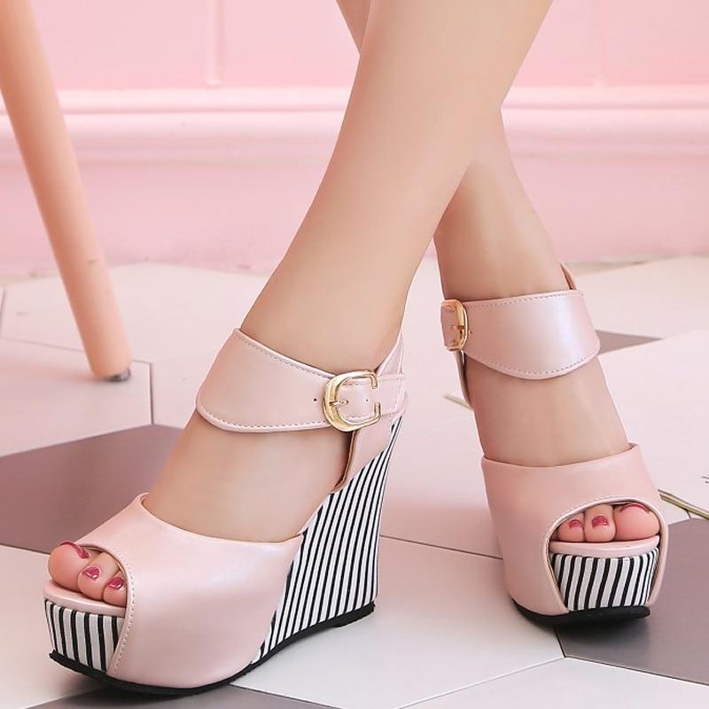 Grande Beige Zapatos Taille Toe Mujer Cm Sangle À Boucle Sandales Talons Hauts 32 pink Chaussures 12 Plate Peep Sexy blue 45 black forme Été Coins Femmes BxrWCedo