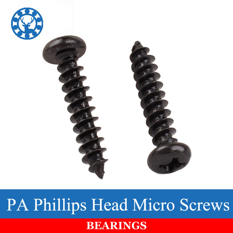 Fasteners Panel Screws 100pcs M2 M2.6 M3 M3.5 Black Steel Mini Micro Small Flat Countersunk Head Cross Round Pan Head Self-tapping Wood Screw Nails