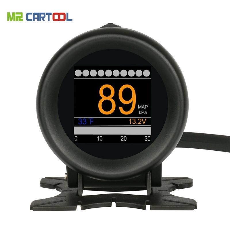 Car OBD M3 Car Multi-function Digital Turbo Boost Pressure Meter Alarm Speed Oil Water Temp Gauge 12V OBDII Code Reader OBD2