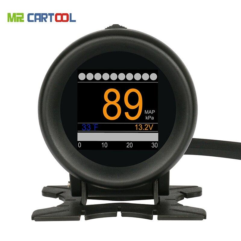 Auto OBD M3 Car Multi-funzione Digital Turbo Boost Misuratore di Pressione di Allarme di Velocità di Acqua Olio Temp Gauge 12 v OBDII Lettore di Codice OBD2