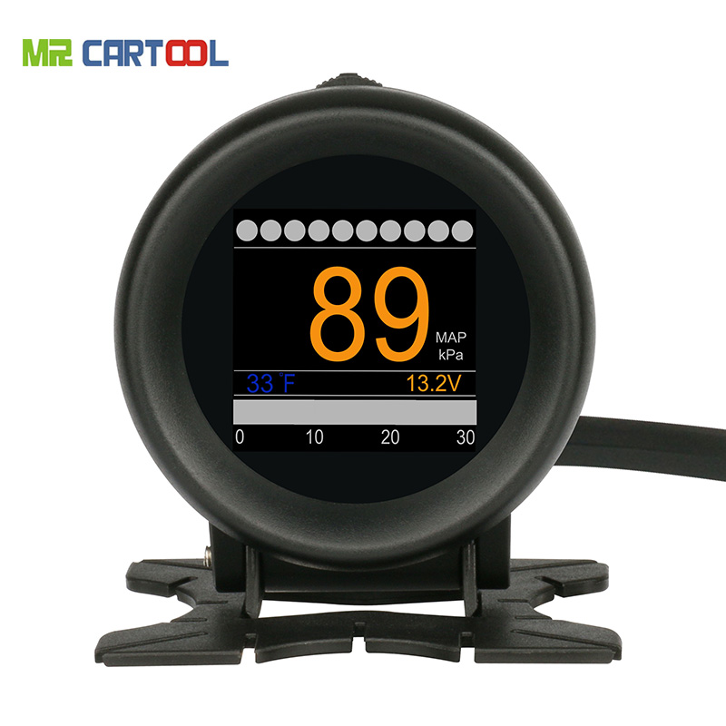 Mr CartooL M3 Car OBD HUD OBD2 Digital Turbo Boost Pressure Meter Auto Speed Oil Water Temp Gauge 12V OBDII Code Reader Display