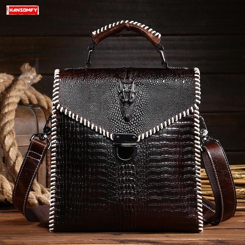Retro Men handbag top layer leather Crocodile pattern crossbody shoulder bag high-end black leather large-capacity messenger bag
