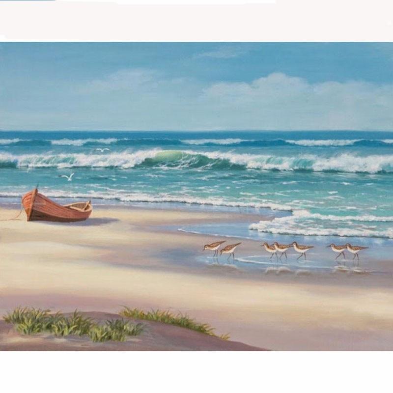 New 5D DIY Diamond Painting beach Sea boat Scenic