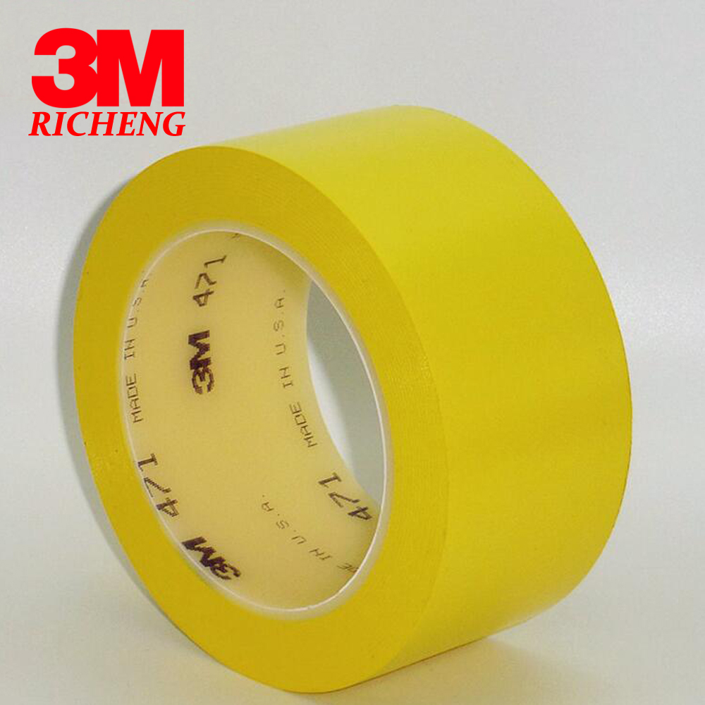 1 Roll 3M 471 tape yellow flooring positioning logo warning tape PVC waterproof high temperature 33M 6S positioning tape multi color 1 roll 20m marking tape 100mm adhesive tape warning marker pvc tape