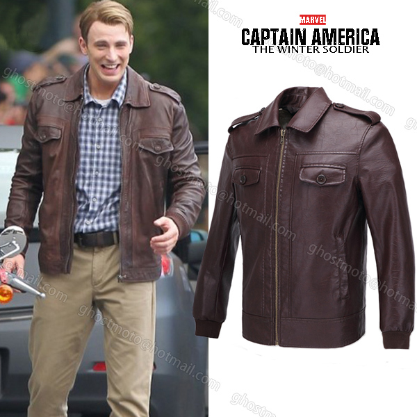 9c68d719c15 Marvel s The Avengers Captain America Leather Jacket Chris Evans mens  casual PU leather coat jacket cosplay costume-in Jackets from Men s Clothing  on ...