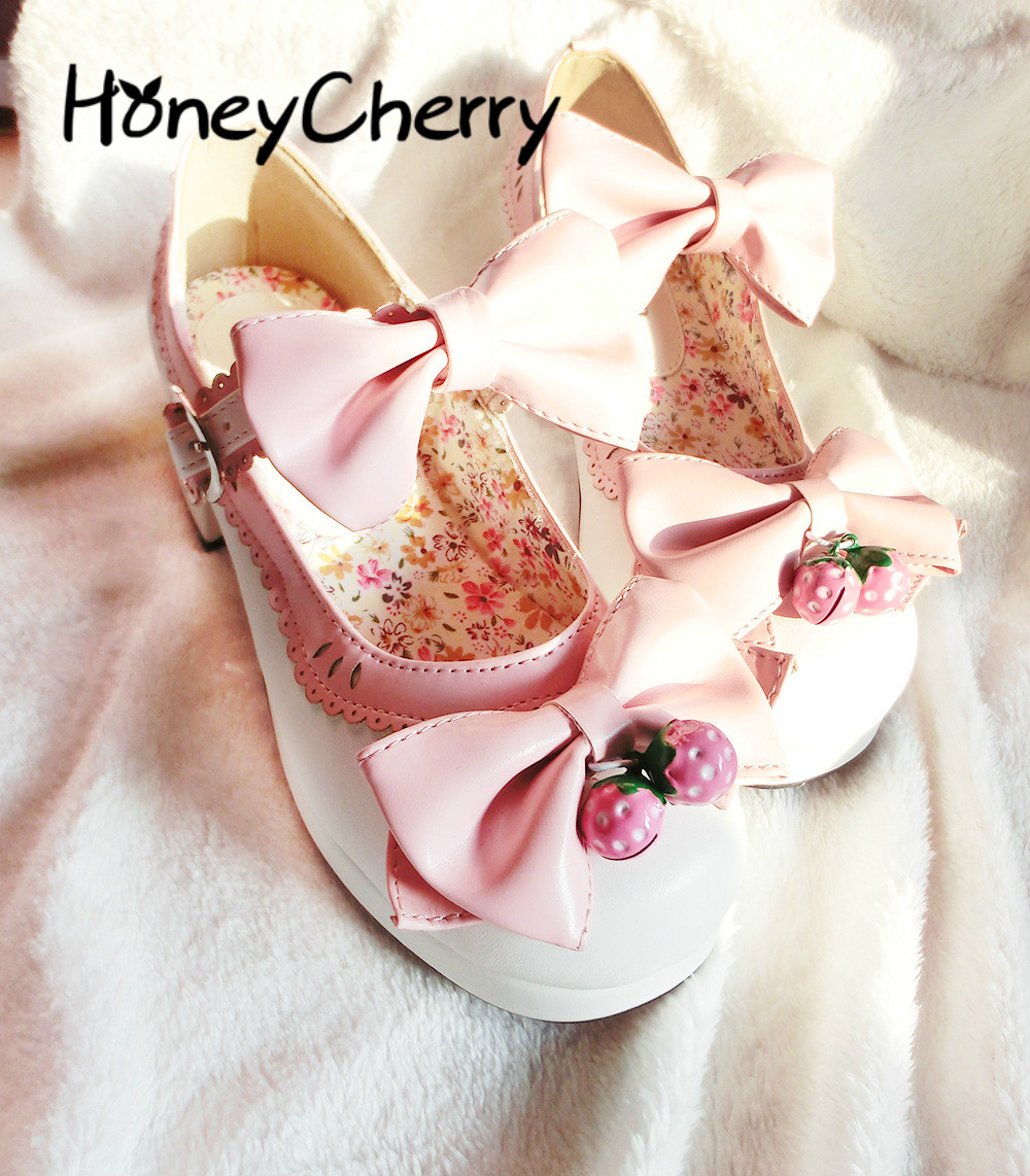 2018 New Spring And Autumn Lolita Thick Heel High Heel Doll Shoes Strawberry Bell Sweet Shoes,cosplay Professional Shoes