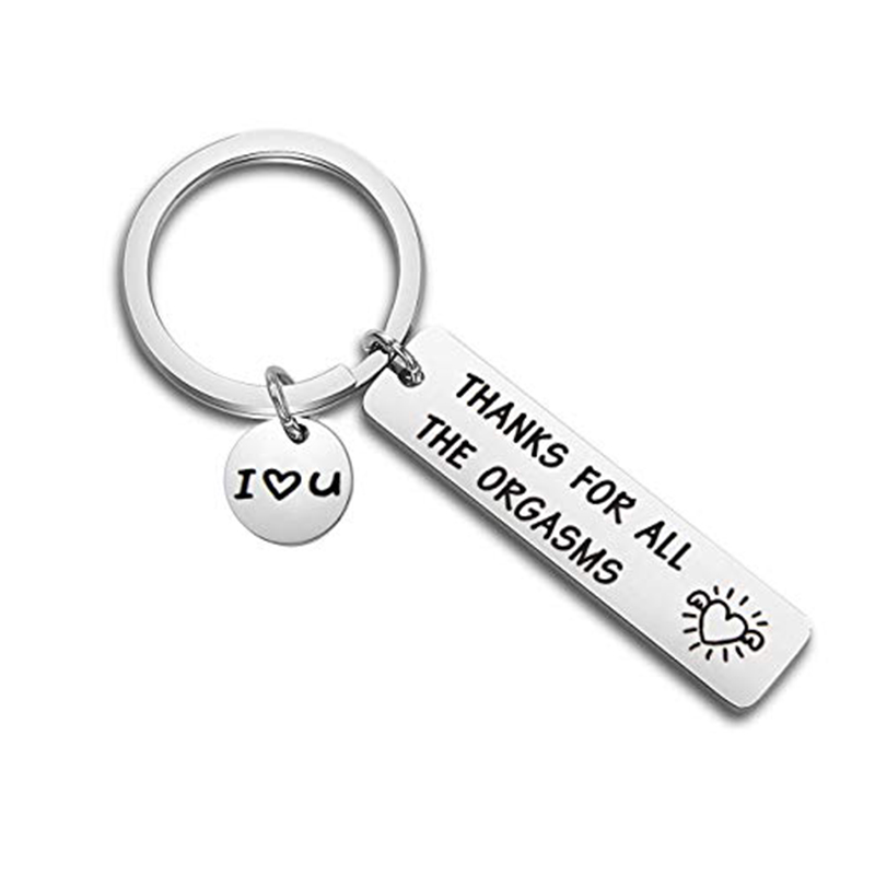 Romantic Funny Gift For Boyfriend Husband Engraved Thanks For All The Orgasms I Love You Naughty Gift Idea Couple Key Chain