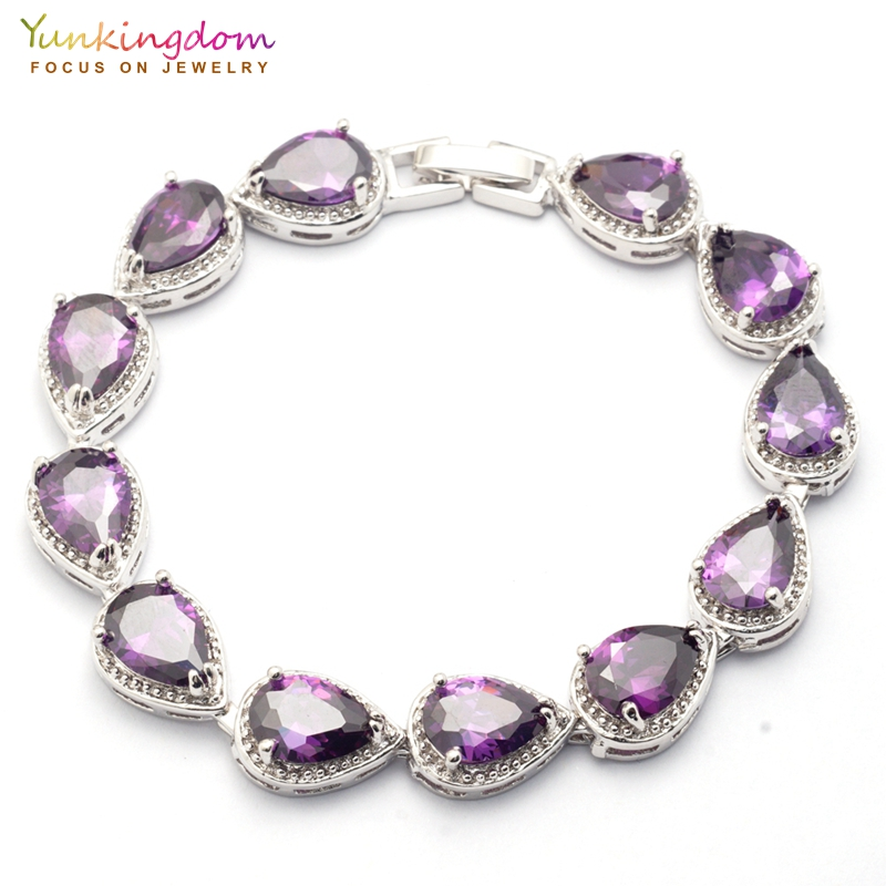 Yunkingdom Best Friend Crystal Bracelets&Bangles for Women Purple Water Drop Zircon Fashion Wedding Jewelry Chain Bracelet vintage faux crystal water drop sweater chain jewelry for women