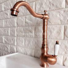 Поворотный носик водопроводной воды Античная Красный Медь Одной ручкой на одно отверстие Кухня раковина и Ванная комната кран бассейна смесителя anf408