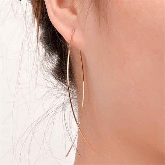 EK143 European & American Simplicity Fish Shaped Stud Earrings for Women Hyperbole Jewelry Copper Wire Brincos de gota Feminino 3