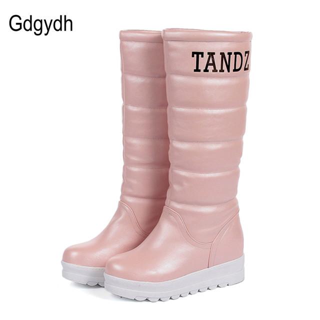 Gdgydh Moda Otoño Invierno Botas de Nieve Plataforma de Las Mujeres de Piel de Felpa Caliente Aumentar Zapatos de Tacón Alto de Dulce de La Rodilla-altos Cargadores de Las Señoras 2017