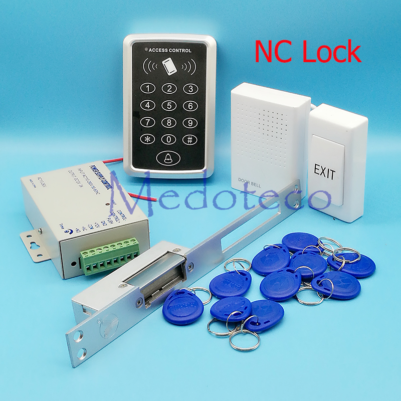 DIY Full RFID Door Access Control System Kit Set Long Type Electric Strike Lock +12V Power Supply + Proximity Door Entry keypad