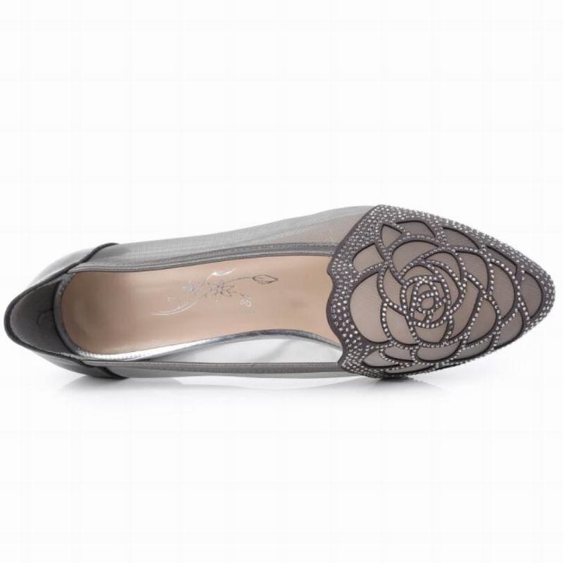 Femmes Plates Sandales Confortable D'été Femme Appartements Véritable Pointu Noir gris En Gktinoo or Découpes 2018 Chaussures Cuir Bout Gaze Strass tZ8qWan