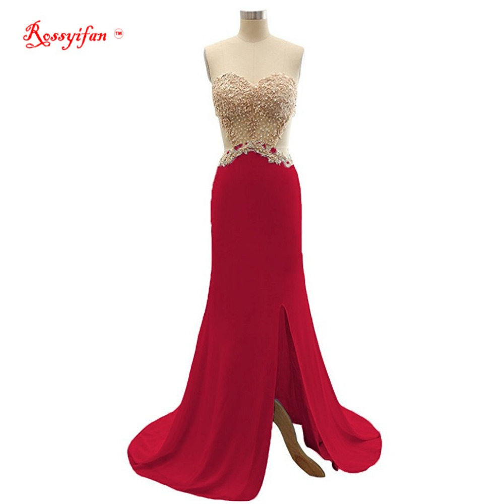 Rossyifan 2017 New Evening Gowns Beaded Sweetheart A line Side Slit ...