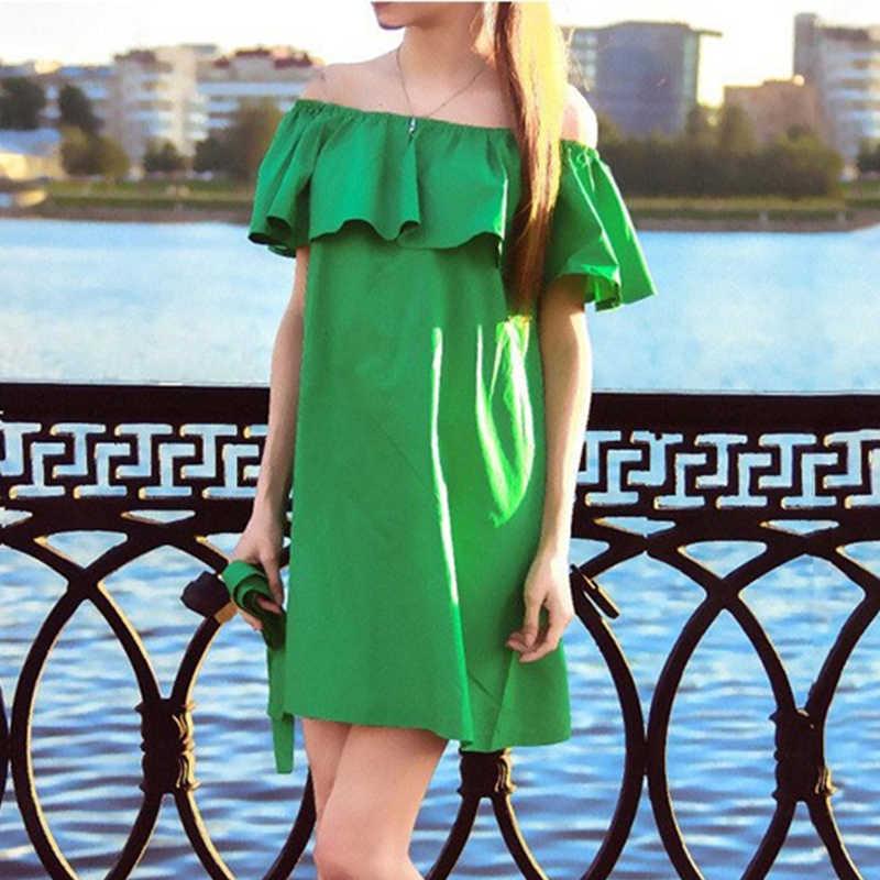 62b63c92a3b Gumprun Для женщин оборками Slash шеи платье пикантные с открытыми плечами Летние  стильные платья белый трубка