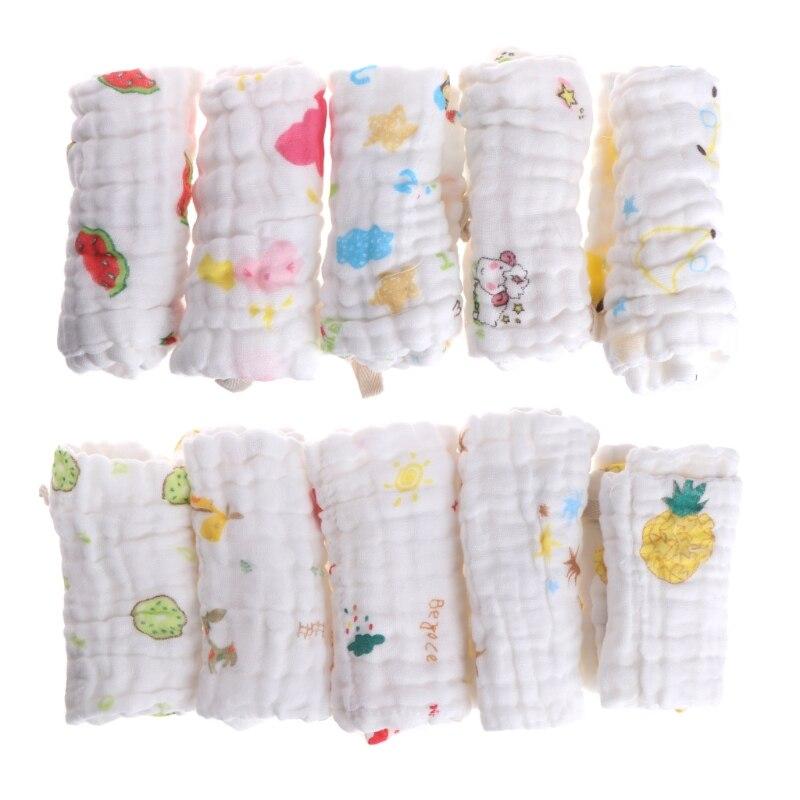 5pcs Baby Handkerchief Square Towel Muslin Cotton Infant Face Towel Wipe Cloth JUN19-B