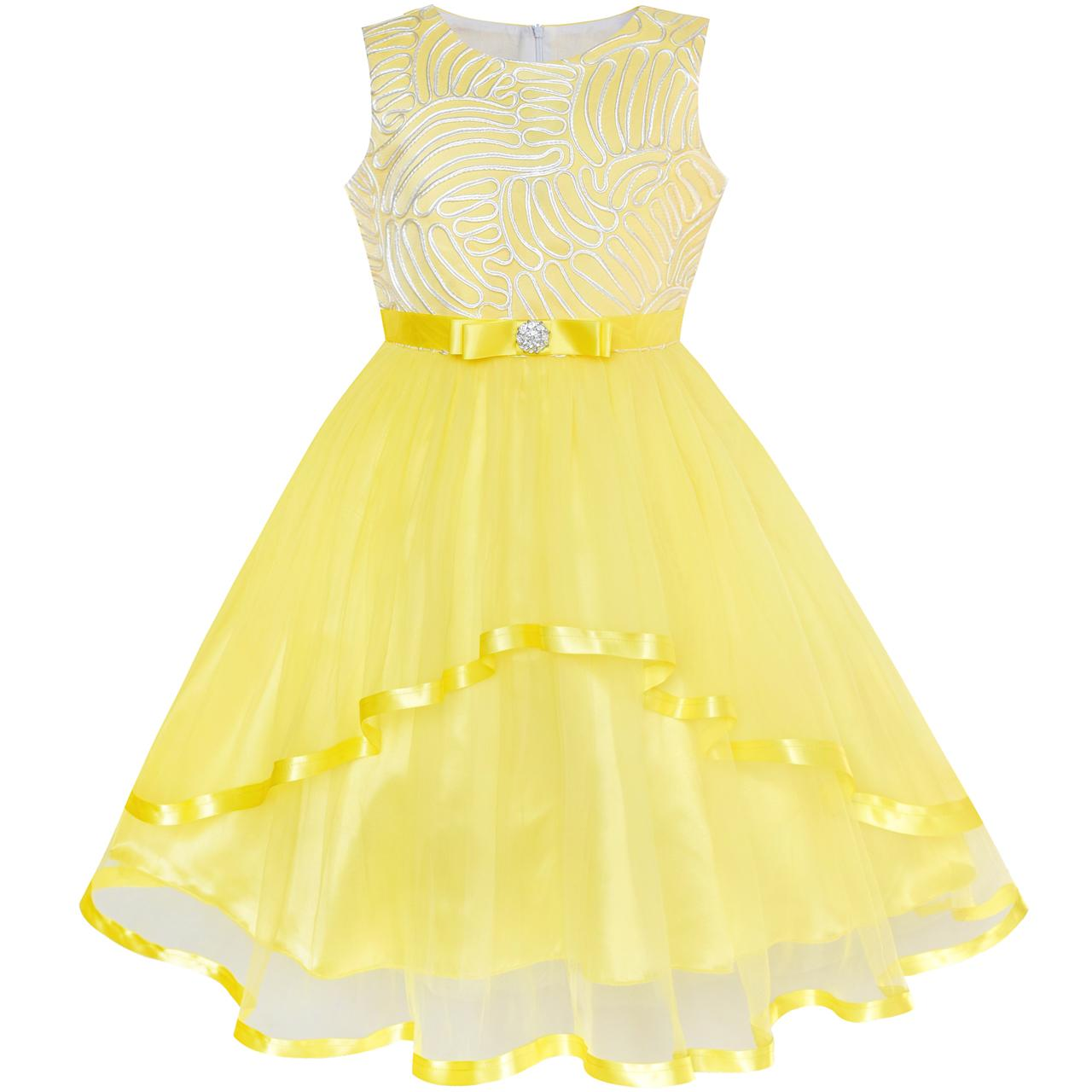 Sunny Fashion Flower Girl Dress Yellow Belted Wedding Party Bridesmaid 2018 Summer Princess Dresses Girl Clothes Size 4-12 patch pocket curved hem belted dress