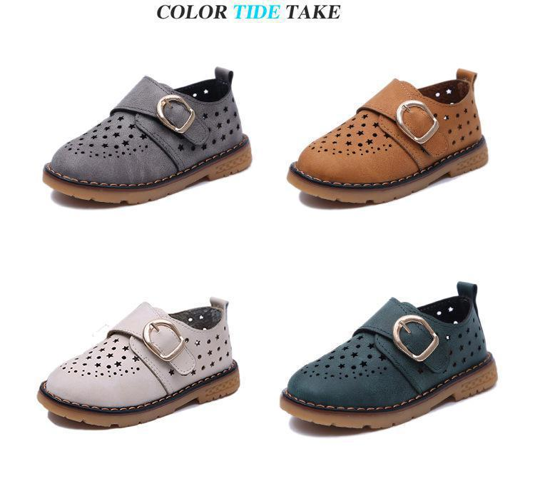 Summer Children Shoes PU Leather Sport Shoes Buckle Strap Child Casual Kids Shoes For Girls Cut-Outs Martin Baby Boys Sneakers 6