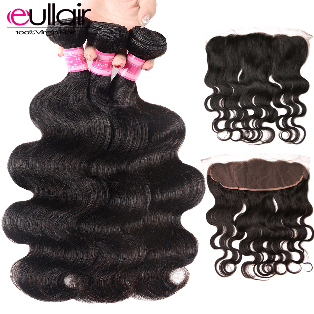 Eullair Brazilian-Bundles Closure Hair Frontal Lace Body-Wave with Remy Deal 4--13