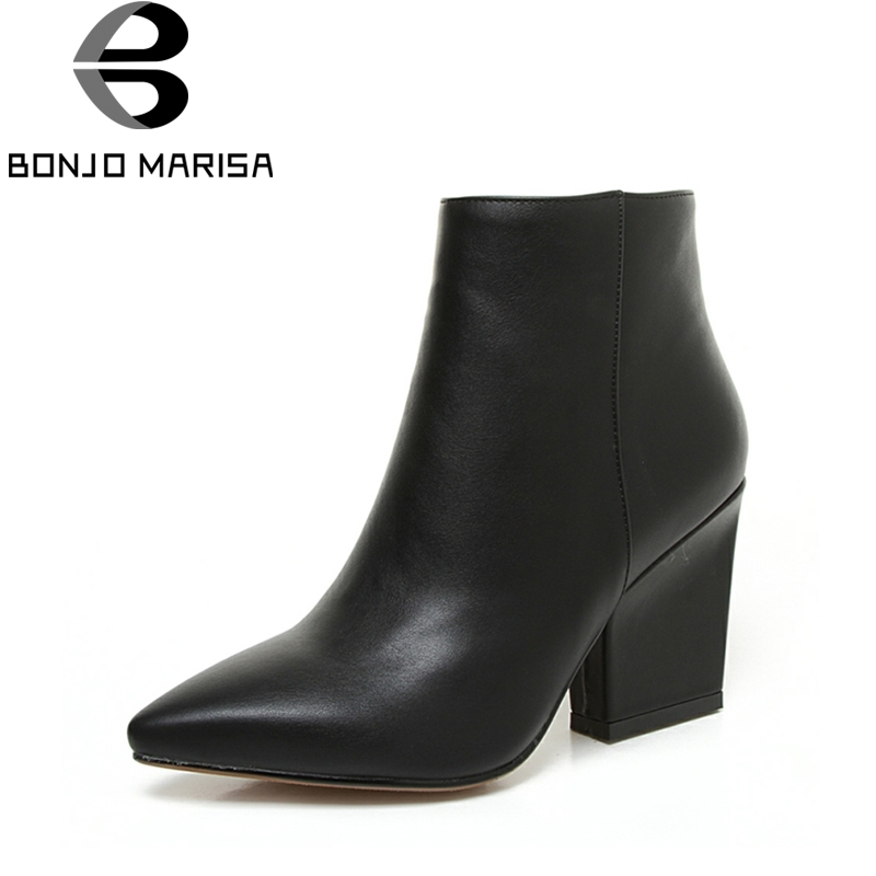 BONJOMARISA 2018 Autumn Solid OL Mature Pointed Toe Ankle Boots With Zip Closure High Chunky Heel  Women Shoes Large Size 32-43 bonjomarisa women s high heel wedge