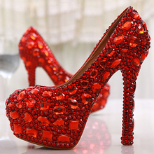 Free Shipping Red Crystal Rhinestone Diamond 14cm High Heels Women Bridal Wedding Shoes Women Big Size 42 43  Party Prom Shoes