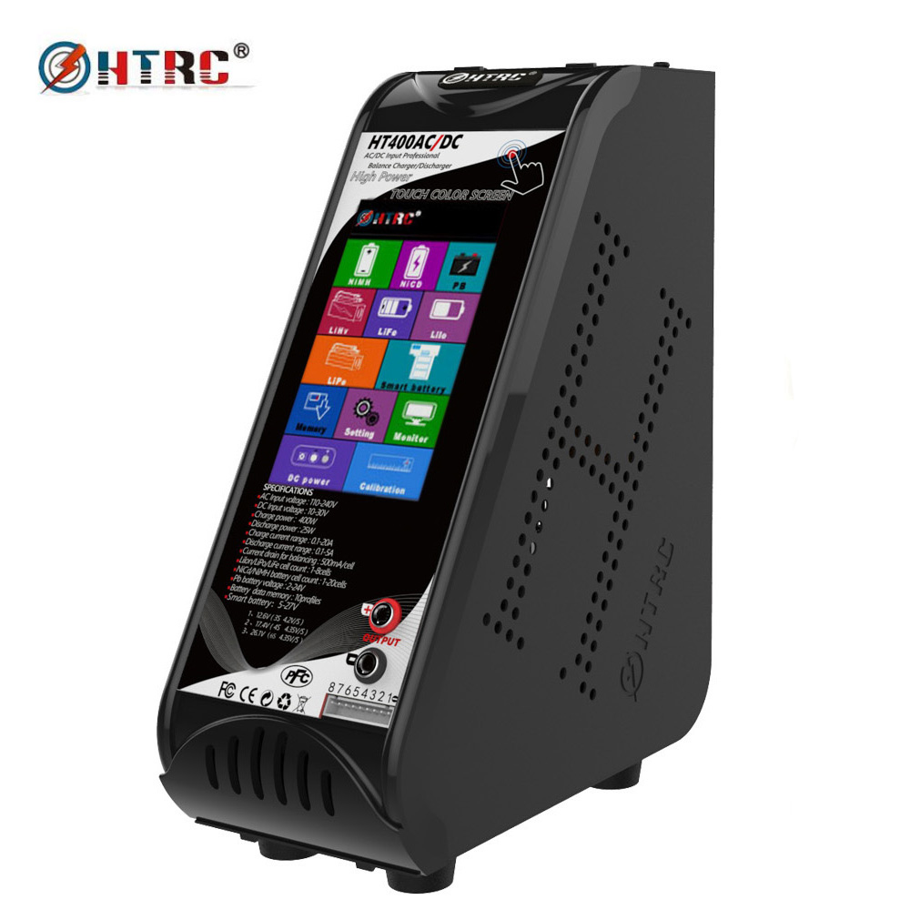 HTRC HT400 AC/DC 4.3 Color LCD Touch Screen 400W 20A Vertical Balance Charger Discharger for 1-8s Lilon/LiPo/LiFe LiHV Battery мультиметр fuke dt9205a ac dc lcd dt9205a