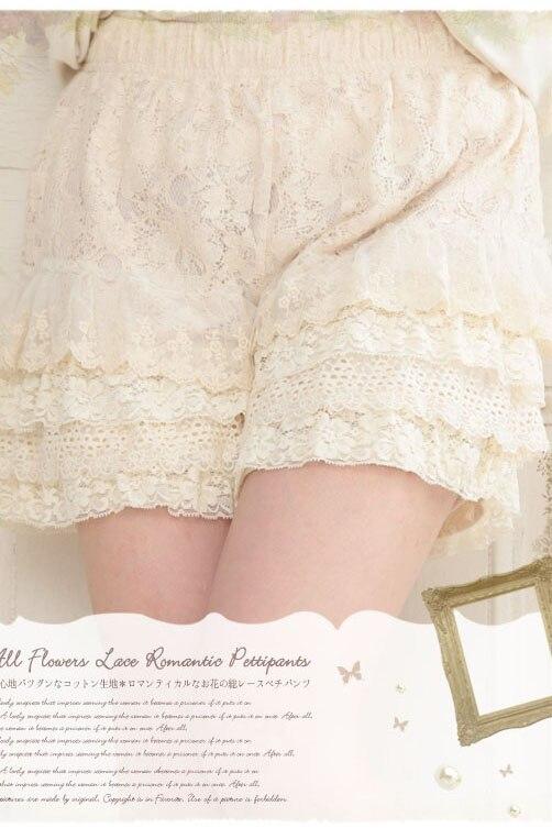 Japonês Mori Menina Lolita Bohemian Boho Doce Soltas de Algodão Elástico Na Cintura Rendas RuffleLayer Bordados Mulheres Verão Shorts Saia - 3