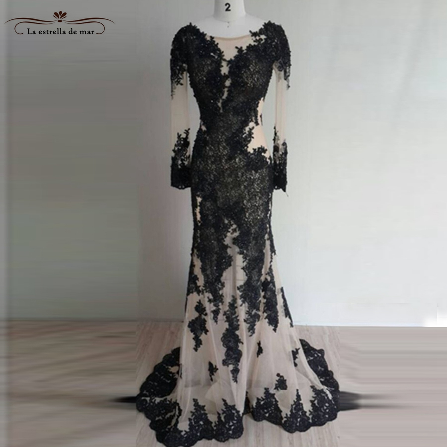 Vestido2017 new lace long sleeves sexy mermaid black turkish evening gowns long real pic ...