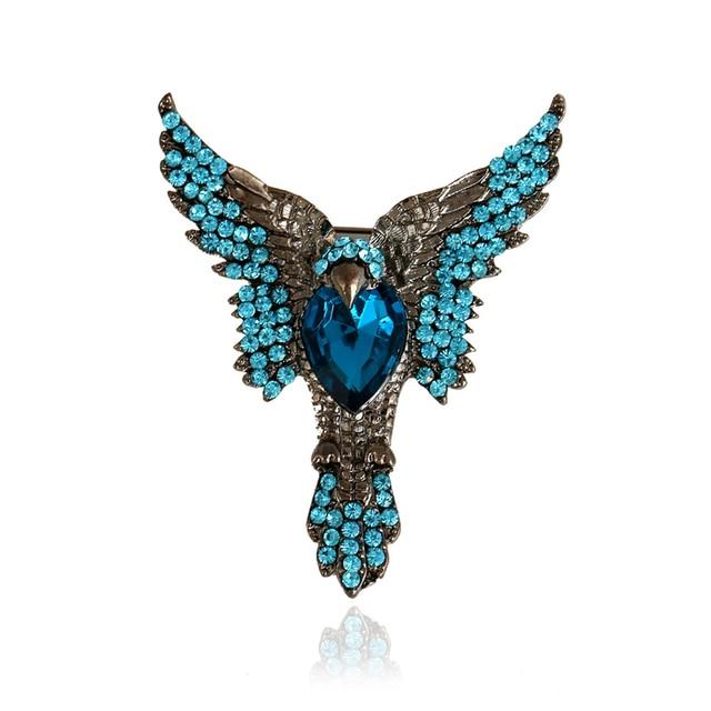 DoreenBeads Unique Eagle Brooch with Blue Rhinestone Punk Style ...