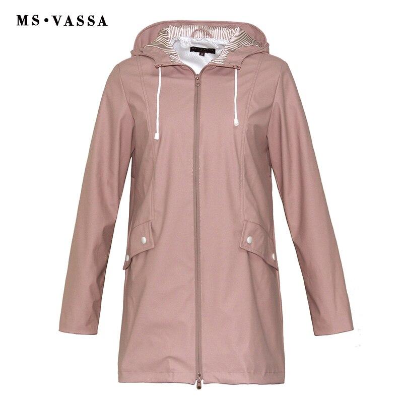 MS VASSA Femmes Trench manteaux 2018 Nouvelles Dames manteau film revêtement rainning preuve Turn-down col avec capot plus la taille 5XL 6XL