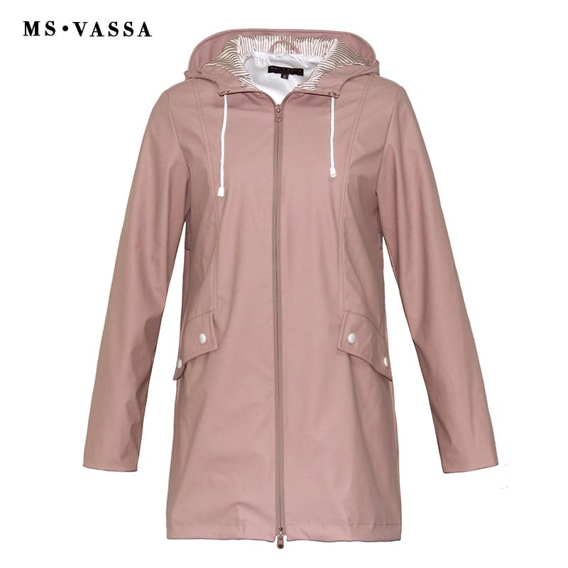 MS VASSA Women Trench coats 2018 New Ladies coat film coating rainning proof Turn-down collar with hood plus size 5XL 6XL