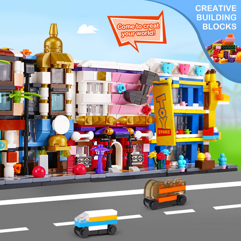 DHL 6 set Panlos Toys Street Building Series Train Station Car Garage City Bank Hotel Music Education Institutions Toys Store