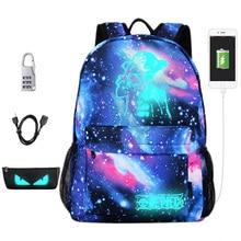 십대 소년을위한 새로운 빛나는 학교 가방 Starry 하늘 학생 배낭 Daypack 남성 어깨 15 인치 USB 충전 배낭